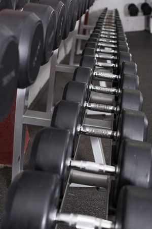Rows of dumbbells for weight training in gym