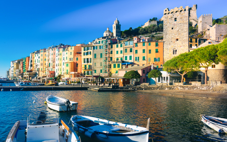Landscape of picturesque Italian town of Portovenere with fortress walls on Ligurian seaside, Italy