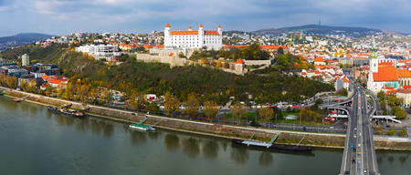 Panoramic view on Bratislava old town over the Danube river in Slovakia