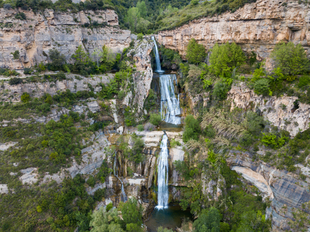 Image of picturesque waterfall on Sant Miquel del Fai in the Spain.