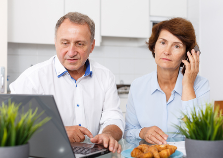 Portrait of positive senior man and woman with phone at laptop in home interior