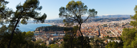 Image of european city Nice with apartment view of sea, France