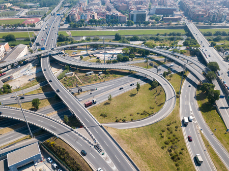 Image of cityscape of car interchange of Barcelona  in the Spain. Imagens - 114635994