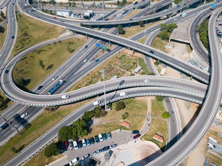 Aerial view of high-level highway interchange in Barcelona, Spain