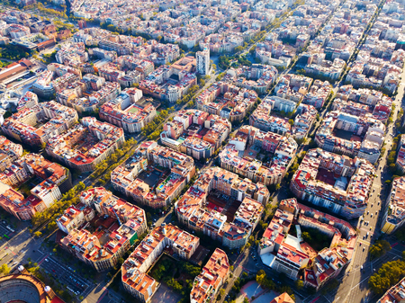 Modern urban landscape in Barcelona, panoramic view from drone of Eixample district