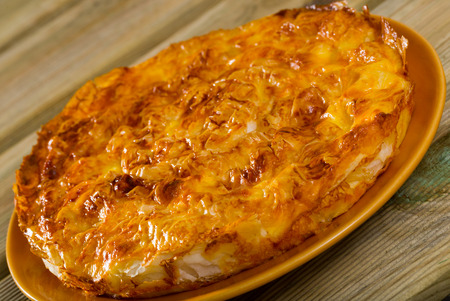 Traditional Bulgarian oven baked filo pie with cheese Banitsa