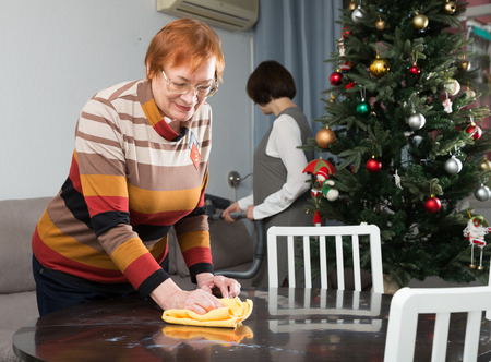 Preparing for celebration of New Year. Smiling mature woman wiping home furniture while her adult daughter vacuum cleaning sofa