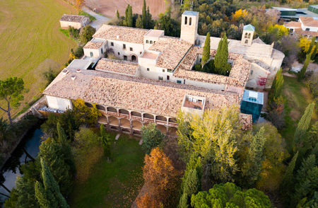 View from drone of ancient Romanesque monastery Sant Benet de Bagess, Catalonia, Spain Stock Photo