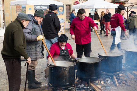 CASTELLTERSOL, SPAIN - FEBRUARY 13, 2018: The festive  day l'escudella de Castelltersol of Catalonia