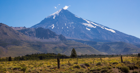 View of slopes and snow top of Lanin Volcano, Patagonia, Argentina, Chile, Andes