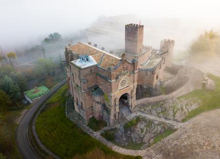 Top view of the castle Castillo de Javier. Huesca Province. Aragon. Spain