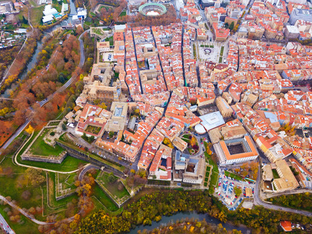 Aerial view of Pamplona medieval town with fortification in Navarre, Spain 免版税图像