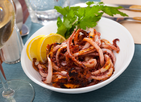Seafood lunch. Tasty fried squid or octopus tentacles closeup Banco de Imagens