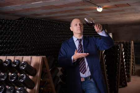 Wine producer inspecting quality of red wine, standing near bottles racks in winery vault