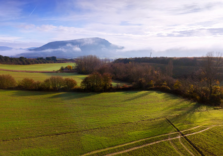 Picturesque landscape of hillsides, valleys and fields of Navarre, North Spain Stock Photo
