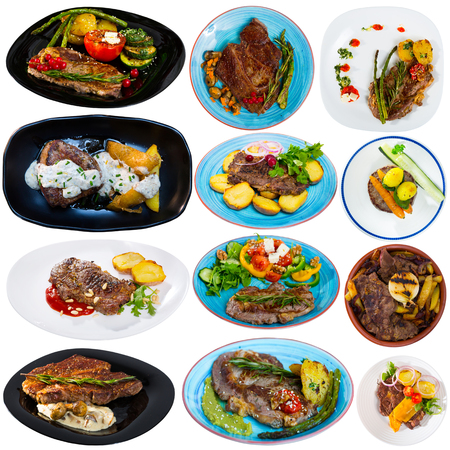 Set of various appetizing dishes from beef isolated on white background Imagens