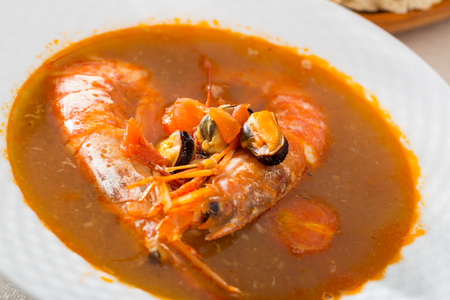 Spicy seafood soup with king prawns
