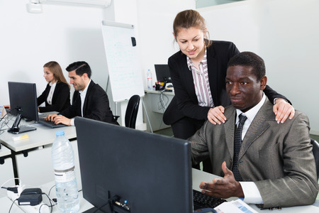 Sexual harassment between two satisfied pleasant colleagues and flirting in office
