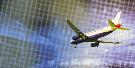 Airliner in motion on abstract background of highrise and binary code