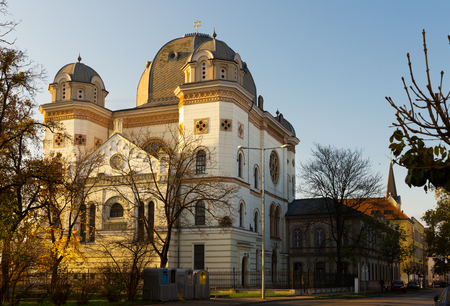 Photo of Synagogue in colorful city Gyor in Hungary outdoor.