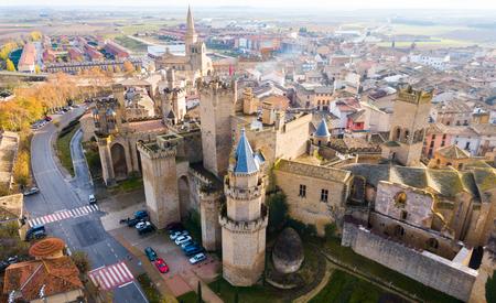 Aerial view of castle Palacio Real de Olite. Navarre. Spain Stock Photo