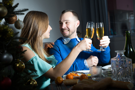 Portrait of loving couple celebrating New Year together at festive table