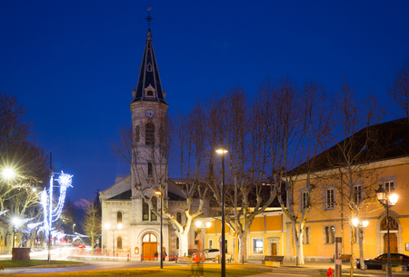 Night view of church Saint-Andre-des-Cordeliers. Gap, France