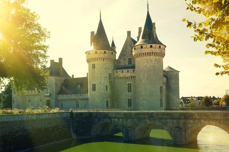 View of gorgeous medieval castle Chateau de Sully-sur-Loire on river Loire, France