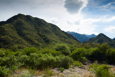 View of Valle Fertil Provincial Natural Park on summer day. San Juan, Argentina Stock Photo