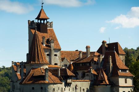 Landscape with famous Bran Castle, between Transylvania and Wallachia, Romania