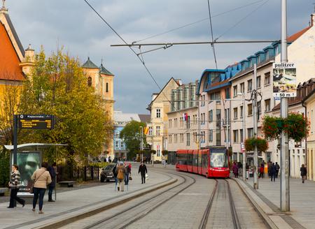 BRATISLAVA, SLOVAKIA - NOVENBER  3, 2017:  Image of center of Bratislava with tramline and historic architecture, Slovakia