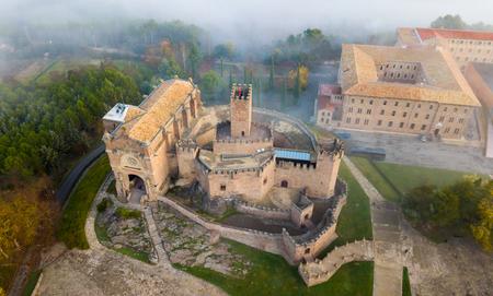 Famous fortress Castillo de Javier in the early morning. Navarre. Aragon. Spain