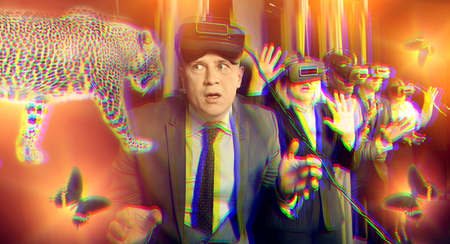 Scared businessman with vr glasses over toned image of walking jaguar and shining butterflies. Concept of illusory risks and business success