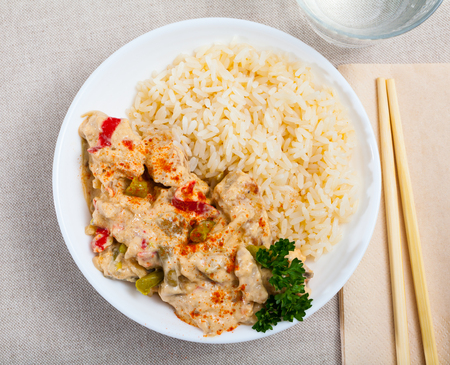 Red thai curry with jasmine rice