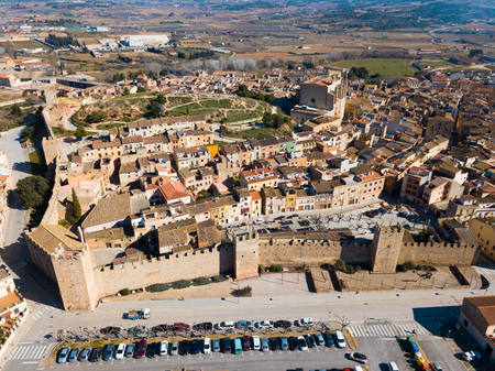 Aerial view of strict architecture of Spanish medieval city of Montblanc, Tarragona Stok Fotoğraf