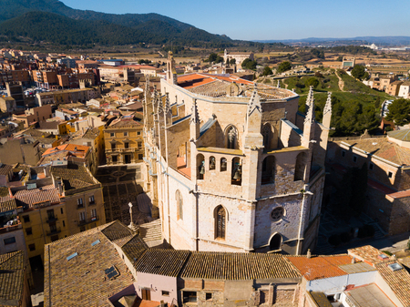 View from drone of town of Montblanc and Santa Maria cathedral, Catalonia Stock Photo