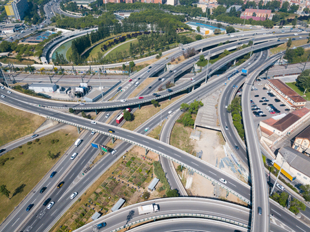 Image of cityscape of car interchange of Barcelona  in the Spain.
