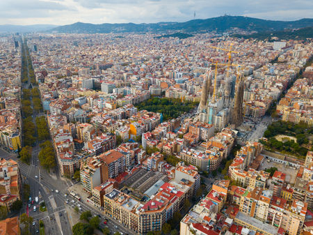 Aerial view of Sagrada Familia – impressive cathedral designed by Gaudi, Barcelona