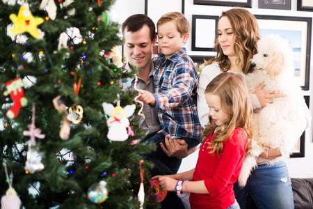 Positive family putting decorations on fir tree at Christmas at home