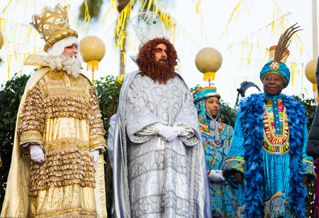 BARCELONA, SPAIN – JANUARY 5, 2017:  Meeting ceremony of Three Magi in port during traditional celebration. Barcelona, Spain Editorial