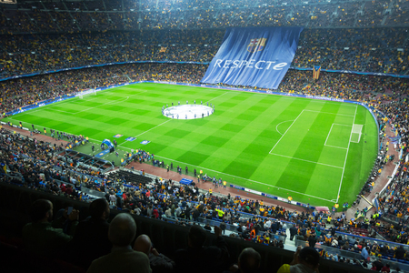 BARCELONA, SPAIN - NOVEMBER 04, 2015: Above view at field and audience during football game between FC Barcelona and FC BATE Borisov (Belarusian) on Nou Camp stadium.