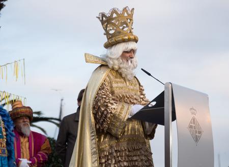 BARCELONA, SPAIN – JANUARY 5, 2017:  Festive pageantry in honor of arrival of Three Kings. Barcelona, Catalonia