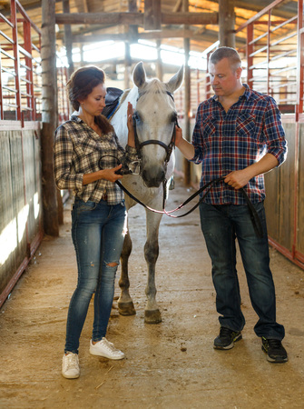 Portrait of smiling couple with white horse standing at stabling indoor