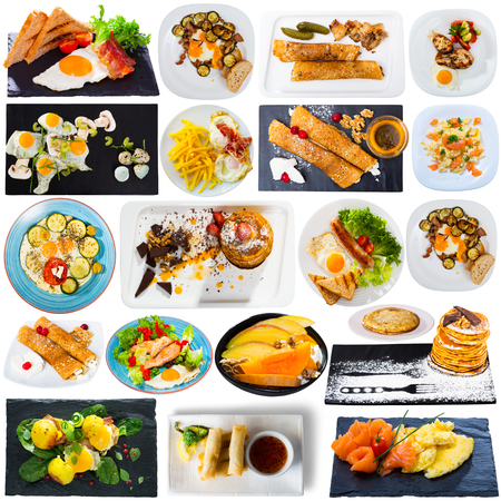 Collage of various breakfast foods on a white background