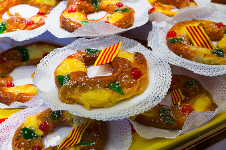 Tortell de Reis - traditional winter Catalan sweetness for celebration of Epiphany and day of Three Wise Men