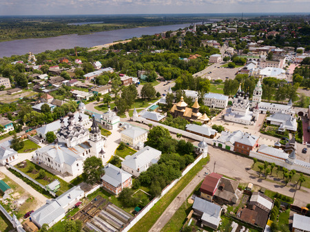 Aerial view of Russian city of Murom along bank of Oka River with Trinity convent and Annunciation Monastery