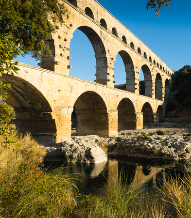 Image of famous landmark Roman Bridge Pont du Gard in southern France