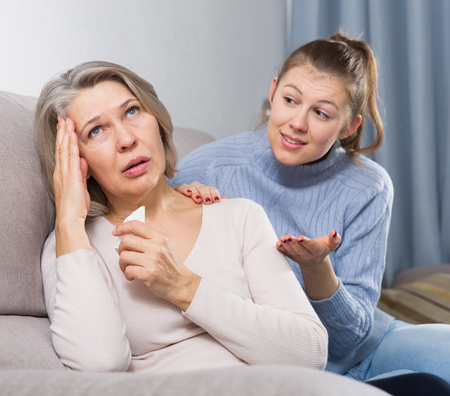 Family quarrel of an mother and adult daughter Stock Photo