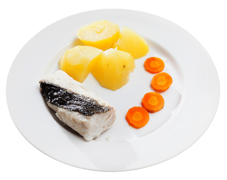 Pollock prepared on steam. Diet food. Isolated over white background