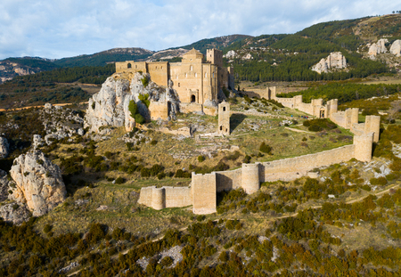 Aerial view of impressive medieval castle of Loarre on mountainside, Spain Stok Fotoğraf